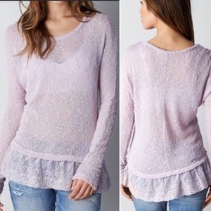 American Eagle Outfitters Sweaters - AEO Feather light sheer knit ruffle lace hem
